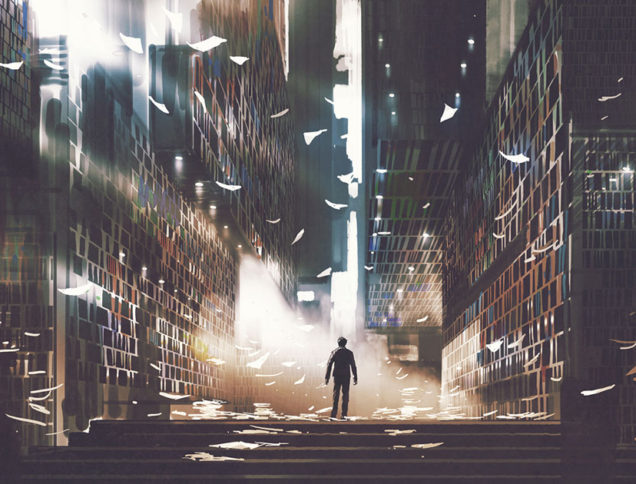 Person standing in magical library
